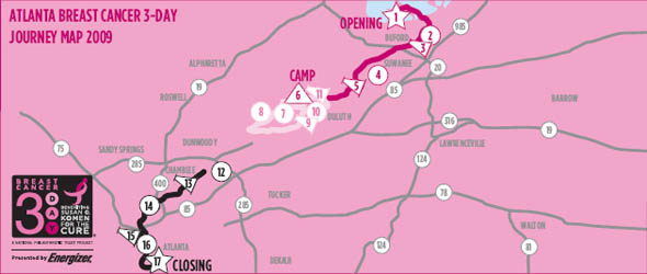 Atlanta 3 Day Breast Cancer Walk Map
