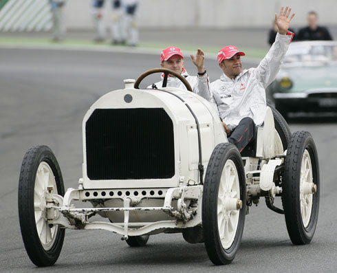 Lewis Hamilton Heikki Kovalainen 100th Anniversary Of The First Mercedes Grand Prix Win